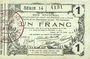 Banknotes Aisne, Ardennes et Marne - Bon régional. Laon. Billet. 1 franc 16.6.1916, série 14