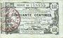 Banknotes Aisne, Ardennes et Marne - Bon régional. Laon. Billet. 50 cmes 16.6.1916, série 18