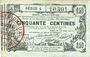 Banknotes Aisne, Ardennes et Marne - Bon régional. Laon. Billet. 50 cmes 16.6.1916, série 4