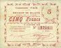 Banknotes Aix (59). Commune. Billet. 5 francs 9.1.1915