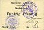 Banknotes Altenbach (68). Commune. Billet toilé. 50 pf (1914), cachets allemand et français, signé Feder
