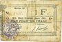 Banknotes Aniche (59). Ville. Billet. 1 franc 1915, série E
