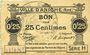 Banknotes Aniche (59). Ville. Billet. 25 cmes 1915, série H