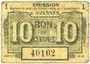 Banknotes Avesnes (59). Emission Garantie par les Communes de l'Arrondissement. Billet. 10 cmes sept 1915
