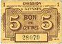 Banknotes Avesnes (59). Emission Garantie par les Communes de l'Arrondissement. Billet. 5 cmes sept 1915
