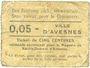 Banknotes Avesnes (59). Magasin de ravitallement. Billet. 5 cmes n. d.
