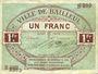 Banknotes Bailleul (59). Ville. Billet. 1 franc août 1914