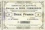 Banknotes Banteux (59). Commune. Billet. 2 francs 22.8.1915