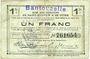 Banknotes Bantouzelle (59). Commune. Billet. S.Q.G., 1 franc 8.8.1916