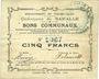 Banknotes Baralle (62). Commune. Billet. 5 francs 26.2.1915