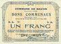 Banknotes Bauvin (59). Commune. Billet. 1 franc 11.3.1915, SPECIMEN