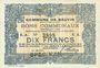 Banknotes Bauvin (59). Commune. Billet. 10 francs 11.3.1915, SPECIMEN