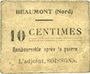 Banknotes Beaumont (59). Mairie. Billet. 10 centimes