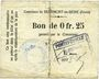 Banknotes Beaumont-en-Beine (02). Commune. Billet. 25 cmes n. d.