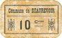 Banknotes Beaurevoir (02). Commune. Billet. 10 cmes, papier non toilé