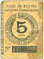 Banknotes Belvès (24). Ville. Union des commerçants. Billet. 5 cmes