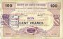 Banknotes Bertry (59). Société des Bons d'Emission. Billet. 100 francs, série 1
