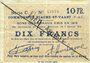 Banknotes Biache-Saint-Waast (62). Commune. Billet. 10 francs 5.1.1915, série C, annulation manuelle