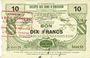 Banknotes Bousies (59). Société des Bons d'Emission. Billet. 10 francs, 5e émission 4.11.1917, série 10
