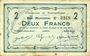 Banknotes Buironfosse (02). Commune. Billet. 2 francs 25.8.1915