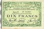 Banknotes Cambrai (59). Syndicat de Communes de la Région de Cambrai. Billet. 10 francs 10.5.1916, série B