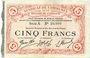Banknotes Cambrai (59). Syndicat de Communes de la Région de Cambrai. Billet. 5 francs 10.5.1916, série A