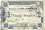 Banknotes Cambrai (59). Ville. Billet. 20 francs 30.10.1914, 2e série : 2 mm, Cachet d'annulation rouge au dos
