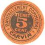 Banknotes Carvin (62). Ravitaillement communal. Ticket-carton. 5 cent