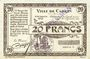 Banknotes Carvin (62). Ville. Billet. 20 francs 15.1.1915, série C, spécimen sans numérotation