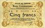 Banknotes Carvin (62). Ville. Billet. 5 francs 15.1.1915, papier jaunâtre
