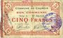 Banknotes Cauroir (59). Commune. Billet. 5 francs 16.12.1915, série A