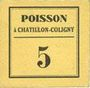 Banknotes Chatillon-Coligny (45). Poisson. Billet. 5 centimes