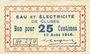 Banknotes Cluses (74). Eau et électricité. Billet. 25 cmes 10.8.1916