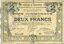 Banknotes Courrières (62). Commune. Billet. 2 francs, émission janvier 1916, série D
