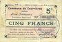 Banknotes Courrières (62). Commune. Billet. 5 francs, émission mars 1915