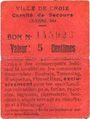 Banknotes Croix (59). Ville. Guerre 1914. Comité de Secours. Billet. 5 centimes