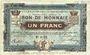 Banknotes Croix et Wasquehal (59). Villes. Billet. 1 franc 10.11.1914, série 6103