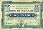 Banknotes Croix et Wasquehal (59). Villes. Billet. 5 francs, série 6250, en noir