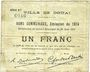 Banknotes Douai (59). Ville. Billet. 1 franc 30.8.1914, série B2