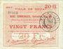 Banknotes Douai (59). Ville. Billet. 20 francs 30.8.1914, série F5