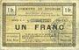 Banknotes Dourges (62). Commune. Billet. 1 franc 18.7.1915, série E4
