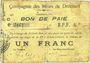 Banknotes Drocourt (62). Commune. Billet. 1 franc, série C