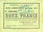 Banknotes Drocourt (62). Commune. Billet. 2 francs, émission 1915, série Y