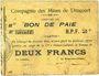 Banknotes Drocourt (62). Compagnie des Mines. Billet. 2 francs, série B