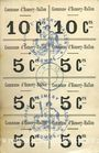 Banknotes Esmery-Hallon (80). Carton non coupé comprenant 2 billets de 10 cmes et 6 de 5 cmes