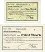 Banknotes Forbach (57). Ville. Billets. 1 mark, 5 mark 19.8.1914, série A, réimpressions
