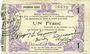 Banknotes Fourmies (59). Bon Régional des Départ. du Nord, Aisne & Oise. Billet. 1 franc 24.10.1915, 1e série