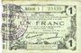 Banknotes Fourmies (59). Bon Régional des Départ. du Nord, Aisne & Oise. Billet. 1 franc 8.5.1916, série 1