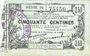 Banknotes Fourmies (59). Bon Régional des Départ. du Nord, Aisne & Oise. Billet. 50 cmes 8.5.1915, série 20