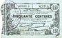 Banknotes Fourmies (59). Bon Régional des Départ. du Nord, Aisne & Oise. Billet. 50 cmes 8.5.1915, série 2
